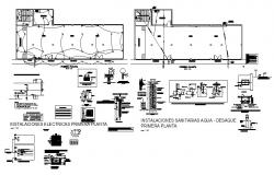 Cover plan, electrical installation details of house floor cad drawing details dwg file