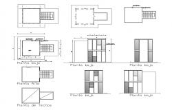 Cover plan and cut elevation details of apartment building dwg file