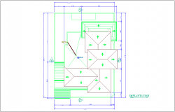 Cover plan of implantation for duplex house dwg file