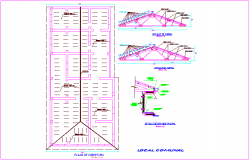 Coverage plan with structural detail for local community dwg file