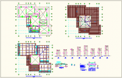 Coverage structure floor plan with structural detail for education center dwg file