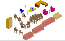 Creative 3d furniture blocks cad design view dwg file