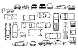 Creative family cars and luxuries car blocks cad drawing details dwg file
