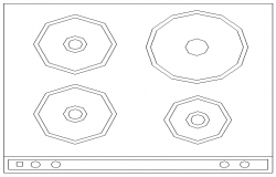 Creative four burner gas stove cad block design dwg file