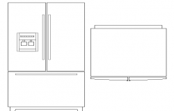 Creative fridge elevation design block dwg file
