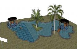 Creative garden with swimming pool 3d model landscaping details skp file
