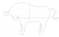 Creative head cow cad block design dwg file