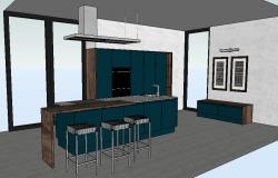 Creative kitchen interior 3d model cad drawing details skp file