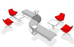 Creative multiple 3d furniture blocks cad drawing details dwg file