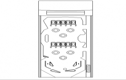 Creative refrigerator front view cad design block dwg file