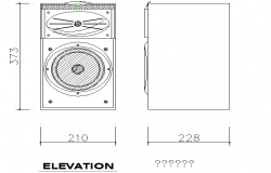 Creative speaker front and side elevation cad dwg file