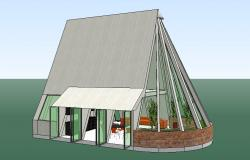 Creative tent house 3d design cad drawing details dwg file