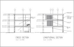 Cross section plan and longitudinal section plan detail dwg file