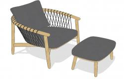 Crosshatch chair and Ottoman 3d drawing details skp file