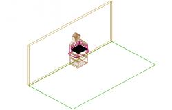 Cub board furniture 3D view detail dwg file