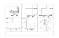 Cube shapes elevation and sectional details dwg file