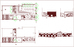 Cultural center design view with plan and different axis section view dwg file