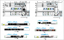 Cultural center plan,elevation and section view dwg file