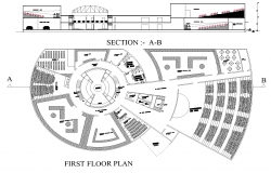 Cultural centre plan detail dwg file