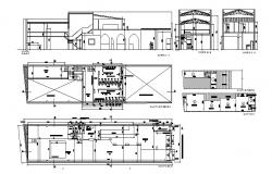 Cultural hall with dance class elevation, section and plan details dwg file