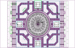 Cultural view of lotus square design dwg file