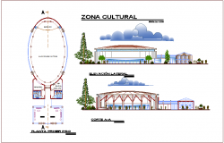 Cultural zone plan,elevation and section view for youth development center dwg file