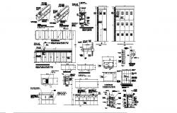Cupboard, cabinet and multiple furniture elevation, section, plan and car pantry details dwg file
