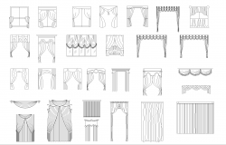Curtains plan detail dwg file.