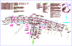 Curve table and under ground view in road design dwg file