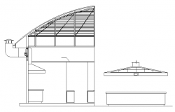 Cut elevation of primary school with roof details dwg file