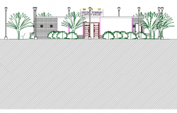 Cut front elevation view with tree and plant of office dwg file