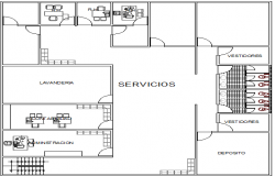 Cut layout plan details of corporate office project dwg file