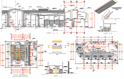 Cut sectional and construction details of mini shopping mall dwg file