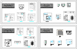 Cut sectional and layout plan details of functional relationships offices dwg file