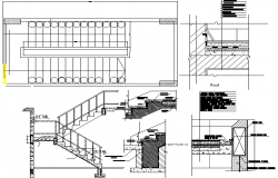 Cut sectional and staircase details of office building dwg file