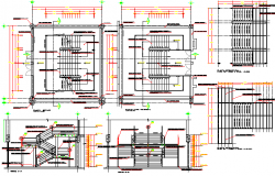 Cut sectional view and staircase details of shopping center dwg file