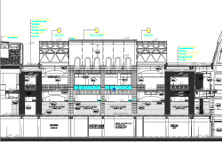 Cut sectional view details of traditional type mall dwg file