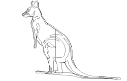 Cute kangaroo design of animal block dwg file