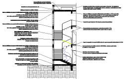 Cutting by Staircase Facade construction details dwg file