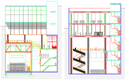 Dance school architecture design and sectional view dwg file