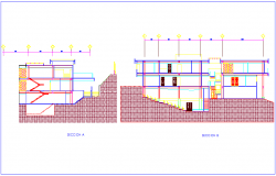 Deans office different axis section view dwg file