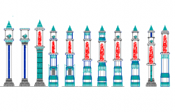 Decorative Elements of Historic Hindu Temples of India dwg file