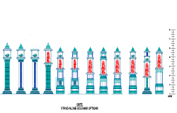 Decorative columns of hindu temples