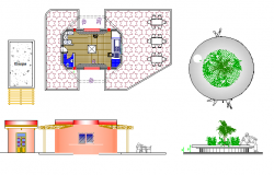 Decorative garden elements architecture project dwg file