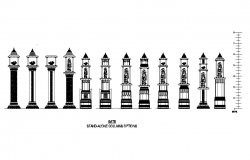 Decorative metal  Gate column detail elevation 2d view autocad file