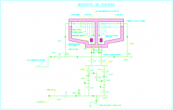 Deposit of resent with hydraulic view with its legend dwg file
