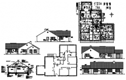Design Bungalow 15.300mtr x 18.715 with elevation and section in AutoCAD