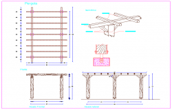 Design detail of wooden pergola with isometric view