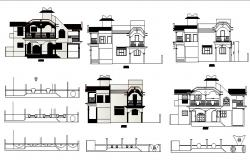 Design of 2 storey bungalow with elevation in dwg file