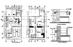 Design of Bungalow 10mtr x 14mtr with section and elevation in autocad file